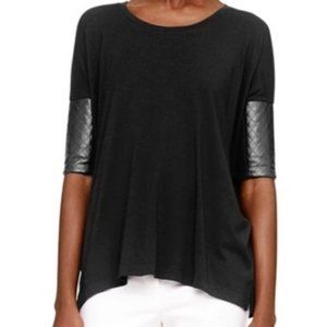 Club Monaco Regan Quilted Leather Sleeve Tshirt XS